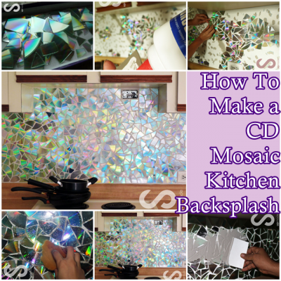 How to make a cd mosaic kitchen backsplash the homestead survival this step by step tutorial of how to make a cd mosaic kitchen backsplash do it yourself project is an amazing way to remodel using digital media materials solutioingenieria Gallery