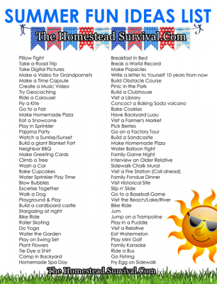 Homesteading Children Summer Fun Ideas List