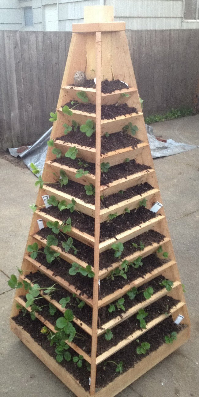 Vertical Wood Pyramid Gardening Tower DIY Project
