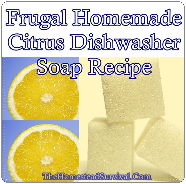 Frugal Homemade Citrus Dishwasher Soap Recipe