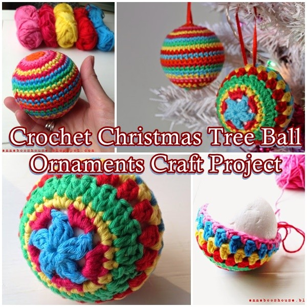 Crochet Christmas Tree Ball Ornaments Craft Project - The Homestead Survival - Christmas - Holidays