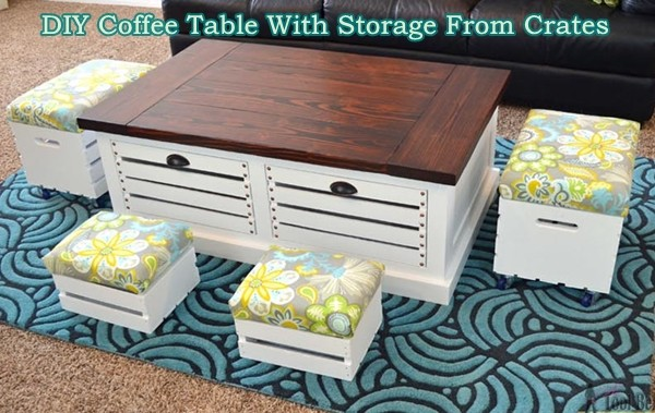 Diy Coffee Table With Storage From Crates The Homestead